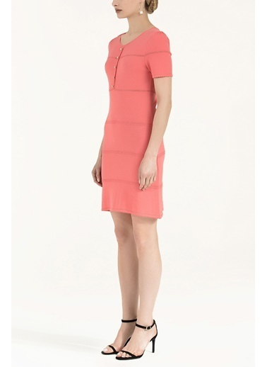Societa Önü Düğmeli Triko Elbise 28480 Mercan